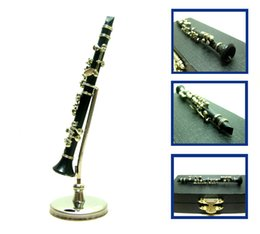 black musical instruments Canada - Classic 1 12 dollhouse miniature Mini Model Musical instrument Metal black clarinet with Holder & case music Gift Figure Home Decor Toy