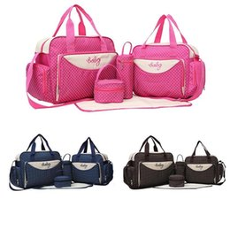 bf7e6326b7bb Newborn Baby Diaper Bag 5pcs set Mummy Handbag Suits Large Capacity Mom Baby  Bottle Holder Mother Maternity Nappy Handbags Sets