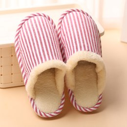 $enCountryForm.capitalKeyWord NZ - Women's Indoor House Wood Floor Flax Cotton Slippers Winter Warm Anti-Slip Comfortable Ladies Girls Home Hotel Furry Lined Stripe Lazy Shoes