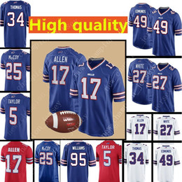 17 Josh Allen Buffalo Bills Jersey Mens 27 Tre Davious White 49 Tremaine  Edmunds 34 Thurman Thomas 25 LeSean McCoy 12 Jim Kelly Jerseys 37439705e