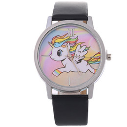 Wholesale Aplustrade NEW Cartoon Unicorn Lady Children s Watch Fashion Cute Animal Kids Girls Leather Band Analog Alloy Quartz Watch