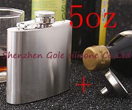 $enCountryForm.capitalKeyWord Australia - Wholesale 200pcs lot Mini Portable 5oz Stainless Steel Hip Flask Liquor Whisky Alcohol Cap + Funnel Drinkware Hot Sale Gift