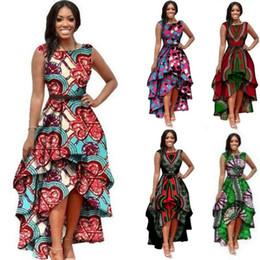 Hi Lo Dress Print Canada - Fashion Woman National Style Print Dress Irregular Skirt Ruffles Hi-lo Girdling Dresses Sleeveless Peplum Casual Dress Clothing Vestido XXL