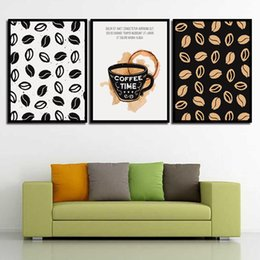 Art Canvas Prints Australia - Nordic Watercolor Canvas Coffee Beans Painting Print HD Coffee Picture Poster Wall Art Living Room Bedroom Bedside Home Decor