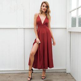 7249d6289a Sexy V Neck Backless Print Jumpsuit Romper Women Lace Up Halter High Waist Short  Overalls Split Wide Leg Summer Denim Jumpsuit
