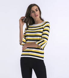 d7cf4c9d1 Knitted Sweater Female Spring Hot New Slim Stripe Knit Cuff And Lotus Leaf  Women T-shirt