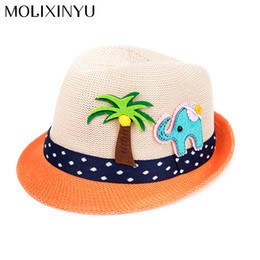 China MOLIXINYU Summer Baby Hat Fashion Children Cap For Girls Boys Kids Sun Hat Baby Boys Beach Cap Straw Kids Jazz cheap straw hats for kids suppliers