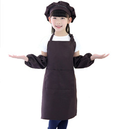 Kitchen Sets For Children UK - Apron for Children child Kids Sleeves Hat Set Big Pocket Kitchen Baking Painting Cooking Craft Art Bib Apron Print Logo ETWQ001