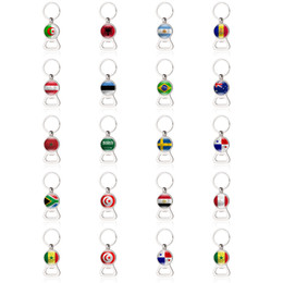 Beer Keychains UK - Russia World Cup 2018 Football beer Bottle Opener Keychains Key rings with Flag Car Key holder Soccer Fans Men Fashion Gifts