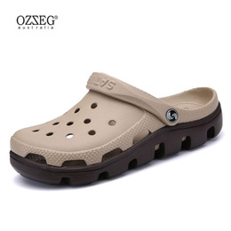 Mule Clogs Canada - OZZEG New Summer Sandals Men Casual Shoes Mules Clogs Breathable Beach Slippers Male Water Hollow Jelly Chaussure Homme