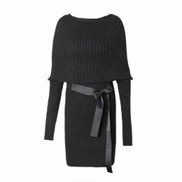 1c04e749057 Dolman sweater Dress online shopping - 2018 Women s Sweater Dress Sexy  Vestidos Belt Party Dresses