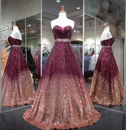 $enCountryForm.capitalKeyWord Australia - 2018 Burgundy Glitter Bling Prom Dresses Glitz Sequined A-line Formal Evening Dresses Pageant Party Gowns Strapless Red Carpet Dresses