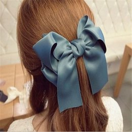 selling hair bows 2019 - Hot Selling Sweet Fashion Hair Accessories Korean Women Multicolor Satin Ribbon Bow Hair Clip s Barrette Ponytail Holder