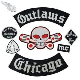 Populäre geächtete Chicago-Stickerei-Flecken für Kleidung Coole volle hintere Reiter-Entwurfs-Eisen auf Jacken-Weste im Angebot