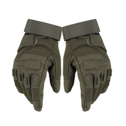 Army green sports gloves online shopping - 2018 New Full finger Resistant Gloves Tactical Shooting Military Cycling hunting Camping Sport Outdoor Game Gloves color M L XL H697F