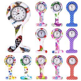 Orange Quartz Pendant NZ - Fashion Colorful Silicone Medical Nurse Watches Portable Brooch Fob Pocket Quartz Watch Hanging Pendant with Clip Gift 12 Styles