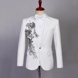 Discount coat tie pants men - White Blazer men formal dress latest coat pant designs singer Sequin suit men fashion masculino trouser wedding suits me