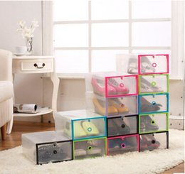 stackable shoe boxes NZ - Transparent Plastic Shoes Storage Box Folding Clear Shoes Organizer Rectangle Drawer Shoes Case Stackable Shoe Packaging Boxes