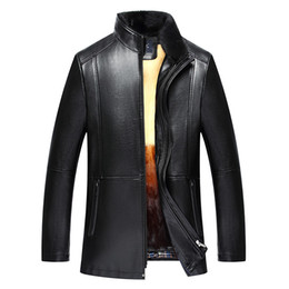 Chinese  8883 New Fashion Winter Clothing Men's Leather Coat men's Winter Rabbit Fur linning Leather Jacket Coat manufacturers