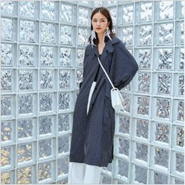 6894ccbbfaa Women Trench 2018 Autumn Grey Polka Dot Coats Turn-down Collar Long Sleeve  Trench European and American Hipsters Female Clothing
