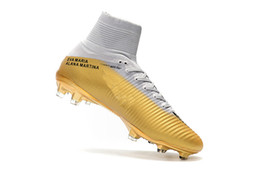 1fcfe927a55 2018 Children Soccer Cleats White Gold CR7 100% Original Kids Indoor Soccer  Shoes Mercurial Superfly V FG SX Neymar JR Women Football Boots