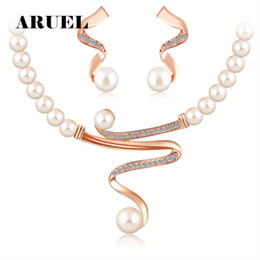 $enCountryForm.capitalKeyWord Canada - ARUEL fashion Hot Selling Gold Colour imitation pearl chain Necklace Earrings Sets women Wedding Africa Nigeria Jewelry Sets
