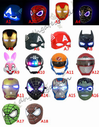 Adult Captain America Mask UK - LED Glowing Light Halloween Mask super hero Spiderman Captain America Hulk Iron Man Mask For Kids Adults Christmas Birthday Party gift toys