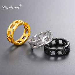 $enCountryForm.capitalKeyWord NZ - Fashion Jewelry s Cuban Link Chain Ring Gold Black Color Size 7 8 9 10 11 12 Chunky Curb Ring Stainless Steel Curb Link Ring For Men GR2779