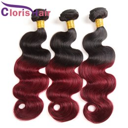 black red ombre hair weave 2019 - Ombre 1b 99j Body Wave 3pcs Black and Burgundy Brazilian Virgin Human Hair Weaves Cheap Two Tone Wine Red Ombre Hair Ext