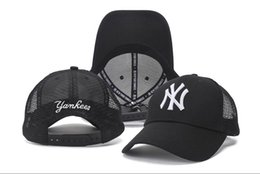 China 2018 Wholesale Black Baseball Cap Embroidery Letter White NY Snapback Mesh Hats Back Hole Fitted Sports Caps Drop Shipping Hot Sale cheap cap ny baseball snapback suppliers