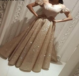 Strapless Sequin Red Dress Australia - Sparkly Rose Gold Sequins Yousef Aljasmi Evening Dresses Dubai Saudi Arabia Prom Dress with Sleeves 2018 Long Formal Party Gowns