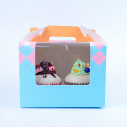wholesale for cupcake packaging NZ - Paper Muffin Boxes with Tray 2 Cupcake Box with PVC Window & Handle Cookie Packaging Box for Party Baking