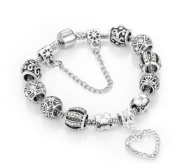 Chinese  Charm Beads Bracelet 925 Silver Pandor Bracelets Loveheart Pendant Bangle Charm Four-leaf clover Bead as Gift Diy women Jewelry with Logo manufacturers