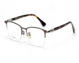 8337883fe1c6 EYELOOK Business Design Men Fashion Pure Titanium Half Rim Black Silver  Optical Goggle Brand Eyewear Oculos Eyeglasses Frame