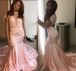 $enCountryForm.capitalKeyWord Australia - Black Girls Sexy Backless Mermaid Prom Dresses High Neck Cap Sleeves Lace Appliques Sweep Train Arabic African Evening Party Pageant Gowns