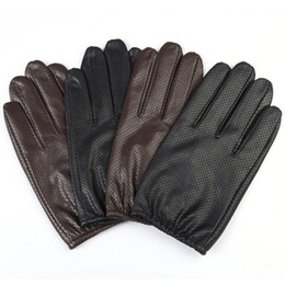 Discount mens leather fingerless driving gloves - Mens Leather Gloves Autumn High Quality Genuine Leather Fashion Men Black Breathable Driving Gloves Male Touch Screen Mi