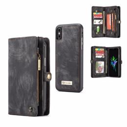 Cüzdan Telefon kılıfı için iPhone X / 10 süper organizatör para çanta kartları tutucu manyetik ayrılabilir telefon kılıfı ile kapak standı kapak