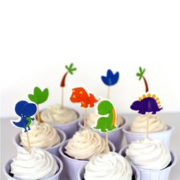 cupcake sales 2019 - Hot Sale 2018 Kids birthday party Supplies Dinosaur Party cupcake toppers picks Decoration High Quality discount cupcake