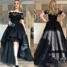 $enCountryForm.capitalKeyWord Canada - 2019 Clean Black Full Lace Prom Dress High Low Off Shoulder Short Sleeves Evening Gowns High Quality Fashion Party Gown Custom Made
