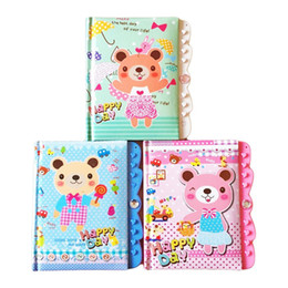 Chinese  1pcs Cartoon Bear Password Lock Diary Notepad Creative School Supplies For Kids 58 Sheets Daily Memos Notebook(Color Random) manufacturers