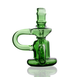 Discount nano oil - Mini Glass blue green Bongs Water Pipes Pyrex recycler Oil Rigs for smokiing cheap Thick Recycler cute Nano Bubbler