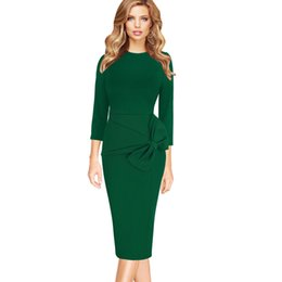 $enCountryForm.capitalKeyWord UK - Vfemage Womens Celebrity Elegant Vintage 3 4 Sleeves Work Business Party Evening Formal Bodycon Midi Mid-Calf Sheath Dress 1225