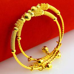 Yellow Gold 18k Bangle Australia - 2 Pieces Children Bangle 18K Yellow Gold Filled Lovely Baby Adjust Bangle Bracelet Gift Kids Gift
