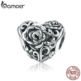 engraved sterling silver bracelet NZ - Romantic New 925 Sterling Silver Rose Flower Engrave Heart Beads fit Charm Bracelets & Bangles DIY Jewelry Making