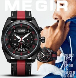 Men Sports Racing Watch Australia - Megir Fashion High Speed Dynamic Relaxation Degree Men Chronograph Racing Sport Quartz Watch 2076G