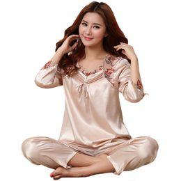 3ab7e6b1d0 Women 2PCS Sleepwear Rayon Satin Nightwear Suit Large Size 3XL Floral Trim  Sexy Pajamas Pijamas Set Lady Oversize Loungewear