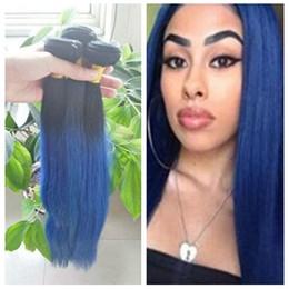 Blue omBre virgin hair online shopping - Top Selling Peruvian A Virgin Hair B Blue Ombre Extensions Straight Human Hair Peruvian Hair Weave