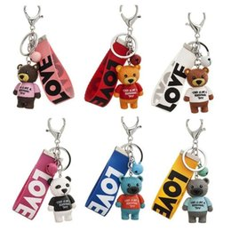 Love doLLs men for woman online shopping - Cute Cartoon Bear Keychains Plastic Doll Bear With LOVE Tag Women Keychain Key Chains For Car Bag Pendant Girls Party Gift