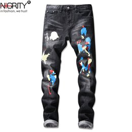 $enCountryForm.capitalKeyWord Canada - NIGRITY Jeans Men Slim Hip-hop Micro Elasticity Trousers New Fashion Cartoon Appliques Pencil Pants Large Size Streetwear Jeans