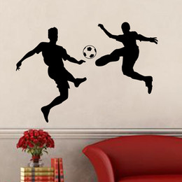 wholesale pvc footballs Canada - Wall Sticker Football PVC Stickers Soccer Decal Removable Self-adhesive Home Room Decor Football Player Play Wall Stickers Boy Bedroom
